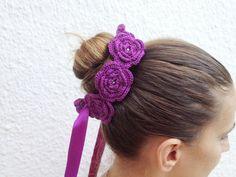 Purple crochet  flowered  headband with satin