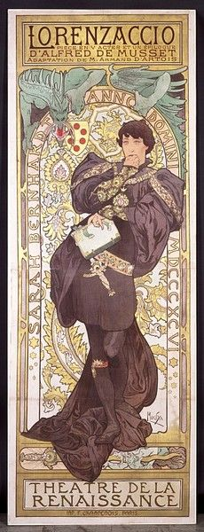 Lorenzaccio | Alphonse Mucha / 1896 | Art Nouveau poster advertising a play