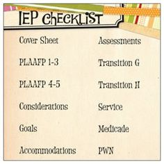 IEP Checklist Post-its