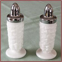Westmoreland Milk Glass Paneled Grape Large Salt and Pepper Shakers