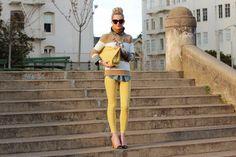 Jeans: Current/Elliott. Chambray Shirt: Gap. Stripe Top: Jcrew. Shoes: Zara. Sunglasses: Karen Walker. Necklace: Jcrew . Clutch: Zara. Scarf: Madewell. Lips: Make Up For Ever #40. Nails: Sally Hansen 'Green With Envy'. Jewelry: Michael Kors, Jcrew, Gap, BR, David Yurman.
