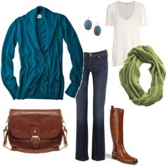 jean, sweater, style, color combos, colors, blue green, fall outfits, teal, brown boots