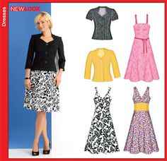 New Look 6867 Misses Dress and Jacket Size: A (8-18)  Availability: OOP  Condition: Uncut, Factory Folded