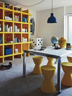 Kids play room. Get the look with out stools: http://www.mattblatt.com.au/Bedside-Tables/Replica-Philippe-Starck-Prince-Aha-Stool.aspx?p1592c2#1593  Via french by design