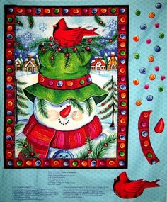 1 Christmas Quilt Fabric Panel Happy Snowman Wall Hanging Fabric Bird  | auntiechrisquiltfabric - Craft Supplies on ArtF