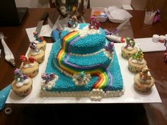 My Little Pony birthday cake, all piped with buttercream icing!