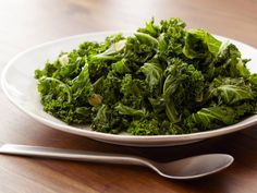 Sauteed Kale I Bobby Flay. Quick, easy, and delicious. For two: Half the kale, triple the garlic, half the vinegar, double the broth.