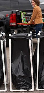 Lowe's PVC Pipe Garbage Bag Holder -- great for tailgating and for camping.