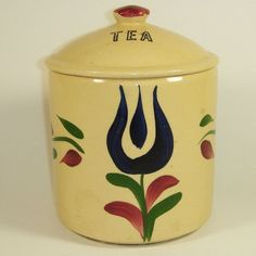 Watt Pottery Dutch Tulip #82 Tea Cannister - available @ watt-pottery.com dutch tulip