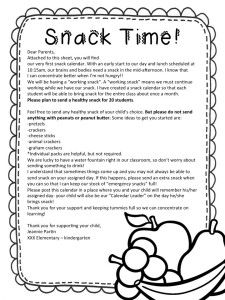 Snack Time! parent note and calendar freebies