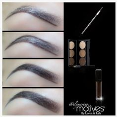 Check out this simple step-by-step pictorial by elymarino! Step 1) Line brows with Motives for La La Waterproof Eyebrow Pencil, Step 2) Fill with Motives Essential Brow Kit, Step 3) Define with Motives Brow Perfecting Gel. #motives #motivescosmetics #makeuphowto #lala #lorenridinger #mua #perfecteyebrows #makeuptutorial #miami
