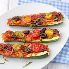 Zucchini Pizza Boats- paleo, vegan, and gluten free.