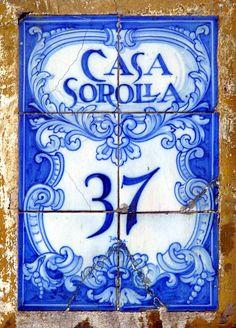 Vintage handpainted blue address tiles, Spain.