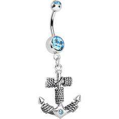 Aqua Gem Corded Anchor Dangle Belly Ring #bodycandy #bellyring #anchor