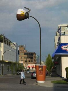 lamp post as beverage ad