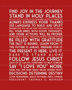 Words of the Prophets - Subway Art - Digital File. $15.00, via Etsy.