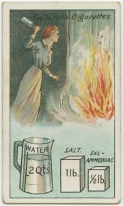 """Lifehack from 100 years ago: DIY Fire Extinguisher: """"Dissolve one pound of salt and half a pound of sal-ammoniac in two quarts of water and bottle the liquor in thin glass bottles holding about a quart each. Should a fire break out, dash one or more of the bottles into the flames, and any serious outbreak will probably be averted."""""""