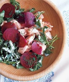 Poached Salmon Salad With Beets recipe from realsimple.com #myplate #protein #vegetables