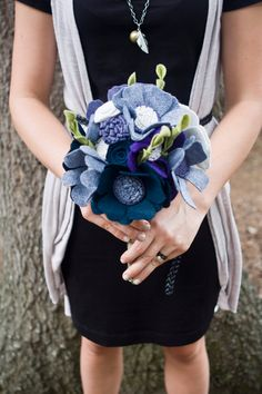 Custom - Wedding Wildflower Felt Bouquet - Alternative Wedding Flowers - Wedding Bouquet - Purple and Navy -. $133.00, via Etsy.