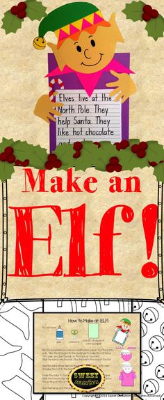 This is a cute elf activity for your students to make in the lead up to the holidays! Let the students chose the colors for the hats, collars hair and skins so that their elves can be as individual as they are! Sure to be a treasured activity that students and their families will want to display year after year!