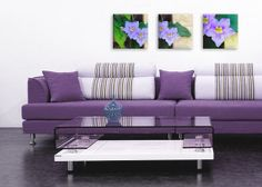 #Art  Print  #Giclee  #set of 3  #purple flowers # canvas art # purple  #art # home decor # wall art  #canvas print  #art on canvas# purple #art  teamt # floral #art print  #floral art