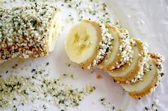 Raw Vegan Banana Hemp Seed Slices. I skip the peanut butter and just roll the banana in hemp seed. Cai, Remi, amd Zippi all love it!
