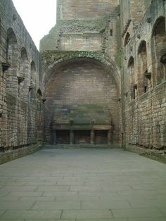 Great Hall triple fireplaces at Linlithgow Palace - Kirkgate, Linlithgow, West Lothian, Scotland
