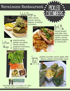 Glenora Wine Cellars is now offering a complimentary food & wine pairing experience in the Retail Shop, every Thursday from 11-4pm. An item from the current menu at Veraisons Restaurant will be available to taste and will be paired with one of our wines.  This week (5/22) we present Pickled Cucumbers – which is featured on our Banh Mi Sandwich, Falafel Burger, Lettuce Wraps, & inside Spring Rolls.      Seneca Lake, Finger Lakes