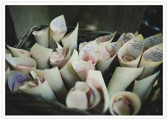 Paper rose petal holders.