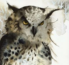 owl art - Great Horned Owl Archival print of watercolor- , rustic home decor, natural, owl art, men, for him. $20.00, via Etsy.