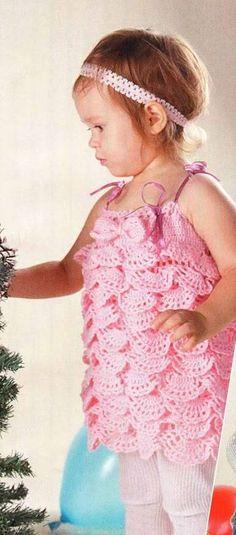 Patrones para Crochet: Vestido Infantil Ondas de Crochet Patron