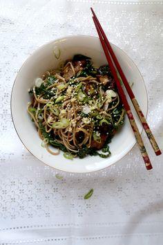 Soba Noodles with Wasabi and Shiitake Mushrooms