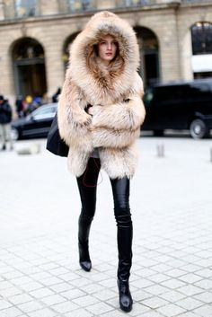 jacket, fashion, furs, outfit, street styles, leather leggings, hood, coat, cold weather