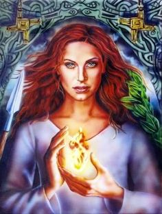 Brigid, born at the exact moment of daybreak, she rose into the sky with the sun, rays of fire beaming from her head. Daughter of Dagda and the great 'father-god' of Ireland.  To read more follow the link.