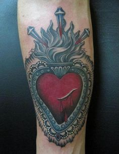 by Elisa Carisi SwanSongtattoo, Italy carisi swansongtattoo, sacred heart tattoo, sacr heart, folk heart, bleeding hearts, bleed heart, heart milagro, heart tattoos, ink