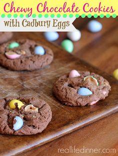 Chewy Chocolate Cookies with Cadbury Eggs