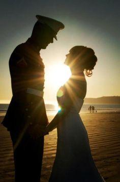 #sunset #holding hands #beach #wedding #marines #usmc