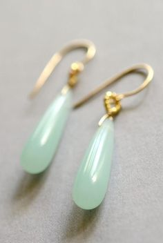 Mint glass earrings gold blue glass earrings