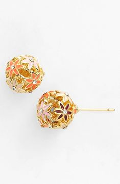 Sparkly pink and purple floral earrings for summer | Kate Spade