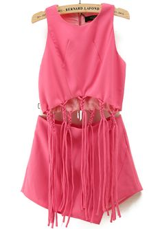 Rose Red Sleeveless Tassel Crop Top With Skirt 39.33 // with nude heels and gold jewelry