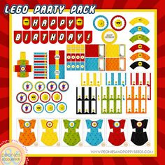 LEGO PARTY! Free Lego party printable mega pack with birthday banner, fry boxes, labels, cupcake wrappers, drink flags, and more! Perfect for a boy birthday party. http://www.peoniesandpoppyseeds.com/2012/02/lego-birthday-party-printable-pack.html