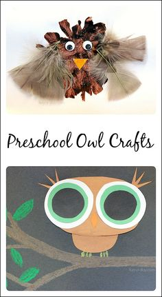 2 owl crafts to make after reading a book about nocturnal animals. One're more process-based, while the other is more focused on learning shapes and colors.