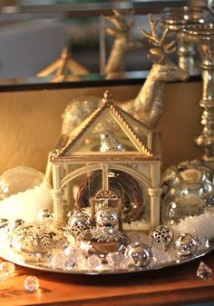 Small glass house from #Goodwill.  #thrift #decor #winter #Christmas