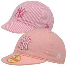New Era New York Yankees Infant Girls 9TWENTY Reversible Gingham Stretch Fit Hat - Pink