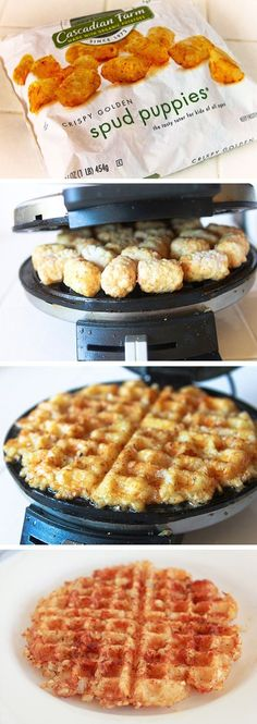 Waffle Iron Hashbrowns _ Perfectly crisp hashbrowns just got easy!! It's time to pull out that waffle iron and cook up some of these easy hashbrowns for breakfast. Brilliant, I say! A few months back, I got the waffle iron buzz, and did A LOT of experimenting. You can cook an entire breakfast in these things! Scrambled eggs, cinnamon rolls, hash browns, and then perhaps some brownies for later. Go check the instructions over at Quick Dish!