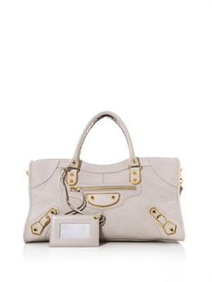 Classic Part Time gold-edge leather tote