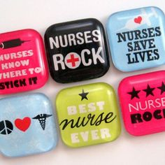 Nurse Magnets - Glass Magnets - Set of 6 One Inch Magnets for glass, magnets, adhesive: http://www.ecrafty.com/c-81-craft-supplies.aspx