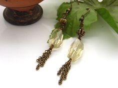 lemon quartz, tassel earring