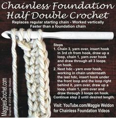 Chainless Foundation Half Double Crochet - Tutorial ❥ 4U // hf