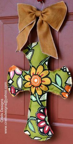 Burlap and Flower Cross Door Hanger by CNelsDesigns on Etsy, $21.99